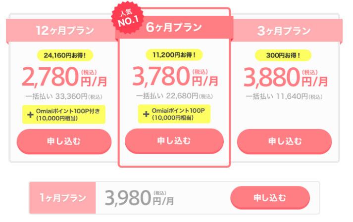 出会い系サイトomiaiの料金